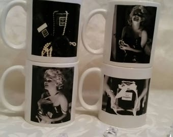 Set of 4 Marylin monroe & chanel Mugs
