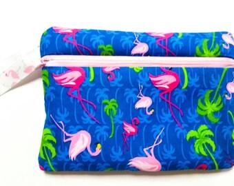 Flamingo Wristlet - Phone Wristlet - Zipper Pouch - Phone Wallet - Monogram Wristlet - Fabric Wristlet - Flamingo Gift - Cell Phone Wristlet