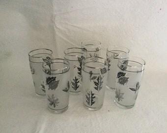 Vintage silver leaf juice glasses.