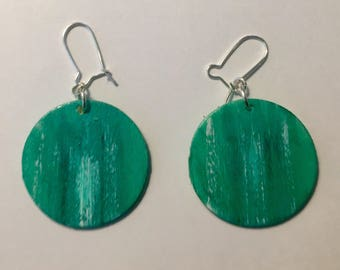 Small Teal Abstract Earrings