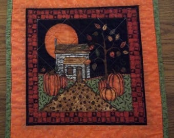 Autumn Full Moon Quilted Table Topper, Quilted Table Topper, Pumpkin-Themed Table Topper, Quilted Placemat, Quilted Snack Mat, Item 1209A