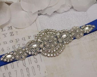 royal blue sash, royal blue bridesmaid belt, flower girl belt, bridesmaid sash, wedding sash, crystal rhinestone belt