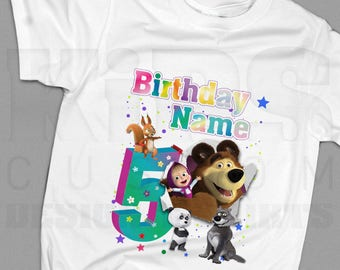 Design birthday t-shirts Masha and The Bear for kids (boys and girls), made by 100% cotton for the special occasion of your sunshine