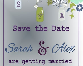 50 pc custom PRINTED save the date prints 10 count blue green floral