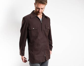 Vintage 80's Brown Jacket / Large Mens Mechanic Workers Zip up Coat Made in Motnreal Circa 1986