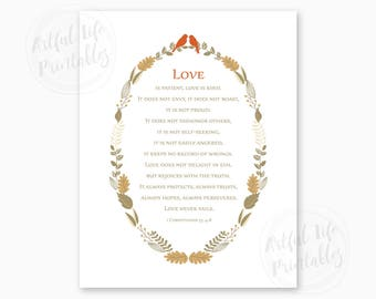 1 CORINTHIANS 13 Printable, Love is Patient, Love is Kind, Wedding Verse, Wedding Scripture, Wedding Gift for Couple, Instant Download