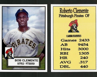 Roberto Clemente Pittsburgh Pirates. 1952 Style Custom Made Baseball Card. Mint Condition. 3 3/4 x 2 5/8