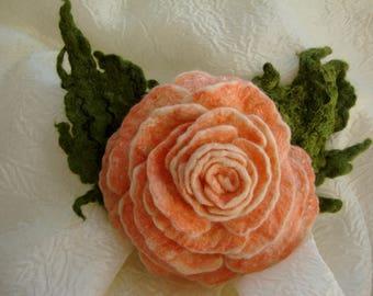 Orange flower brooch Felted wool brooch Bouquet brooch Wool brooch Orange flower