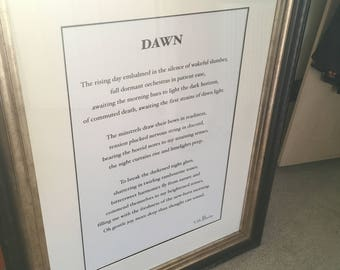 "Poetry framed  ""Dawn"", written by seller"