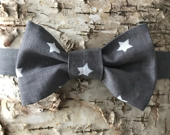 Grey Bow Tie, Kids Bow Tie, Dark Grey Bow Tie, White Stars Bow tie, Toddler Bow tie, Bow tie for kids, Bow tie, Bowtie, Boys Bow Tie, Gray