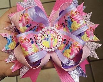 Princess stacked hair bow...Disney princess hair bow...pig tail set
