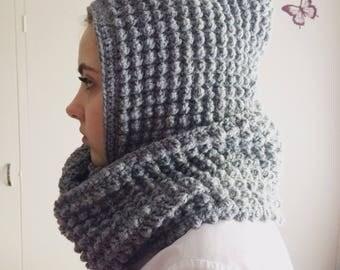 Handmade hooded infinity scarf