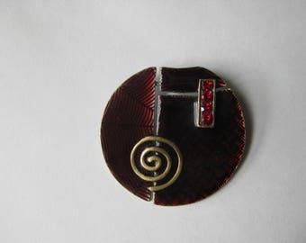 collage enamel disc pendant