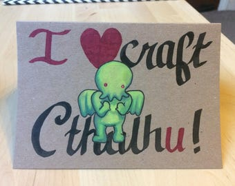 I Love U Cthulhu Card