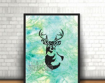 digital download, print, deer, wall decor, office, living room, watercolor, instant download, image, download