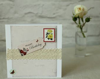 Handmade birthday card, Vintage Card, Birthday Card, Happy Birthday Card