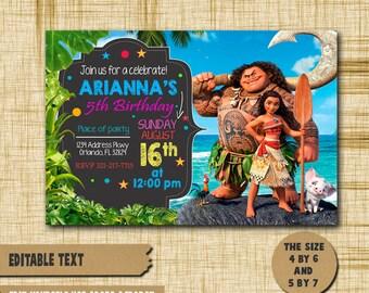 Moana Invitation,Moana Birthday,Moana Birthday Invitation,Moana PDF editable text,Moana party,invitation Moana,Birthday Moana