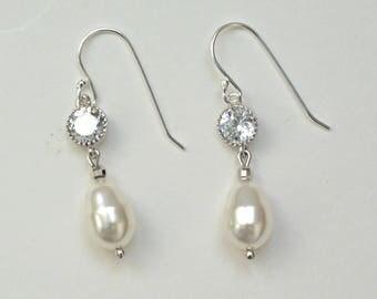 Pearl Earrings Wedding, Pearl and Crystal Earrings Bridal, Crystal Pearl Drop Earrings for Bride, Bridesamaids