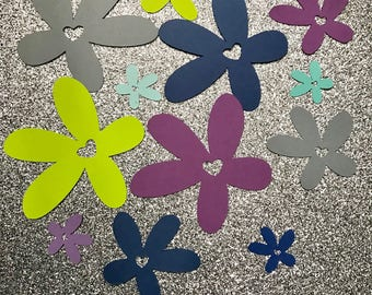 50 paper cut out flower heart- select color and size