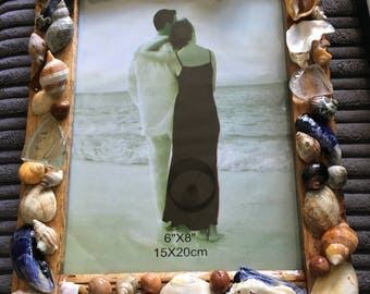 Shell and driftwood picture frame