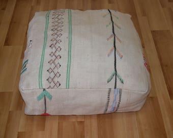 Puf cuadrado de kilim vintage marroquí, reposapiés cuadrado