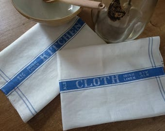 "Pair of Vintage 1940's Pure Irish Linen farmhouse ""Kitchen cloth"" aga towel Made in Ireland Unused"