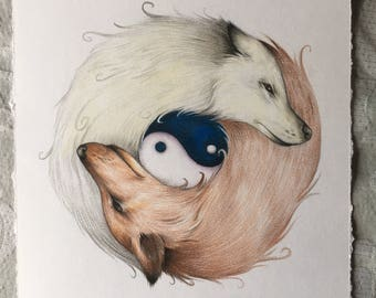 Yin and Yang Wolves- Print