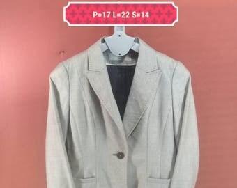 Vintage Feraud Paris Blazer Elegant Ladies Coat Beige Colour Size 36 Comme des Garcons Jackets YSL Jackets Blazer Designer