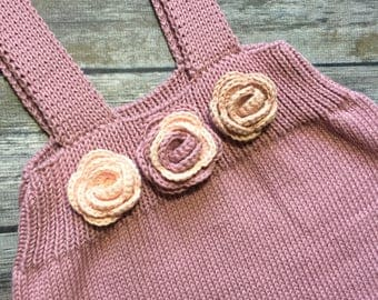 Organic cotton knitted baby skirt on straps 18-24m 3D flowers