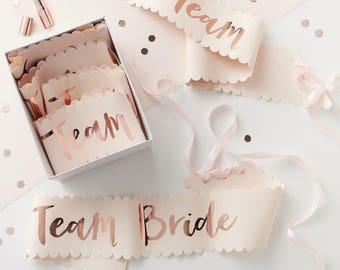 6 Team Bride Pink and Rose Gold Team Bride Sashes, Bachelorette Sash, Hen Party Sash, Rose gold sash, Hen Party, Bachelorette Party