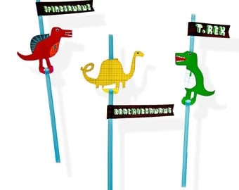 24 Dinosaur Straws With Name Flag Stickers, Party Straws, Dinosaur Party Decorations, Dinosaur party, Dinosaur party decor, 1st birthday