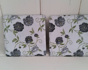 Set of 2 Decoupaged slate drinks coasters - shabby chic/vintage black and white floral design