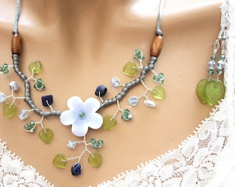 "Set of jewelry Erinite green and blue floral ""custom"""