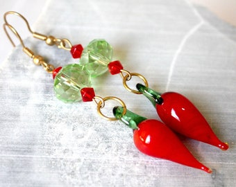 Earrings red and green peppers.