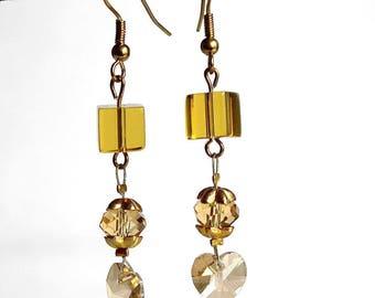 romantic gold heart earrings Crystal