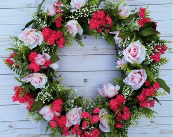 Mix Pink Floral Wreath, Country Wreath, Southern living, Front Door Wreath, Valentine's Day Wreath, Pink Rose Wreath, Door Wreath