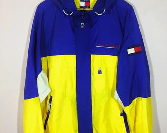 Rare Vintage Tommy Hilfiger Sailling!! Color Block!! Reflector Logo!! Big Logo!! Embroidery!! Hypebeast!!