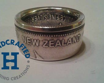 Pure Silver New Zealand Silver Fern Coin Ring