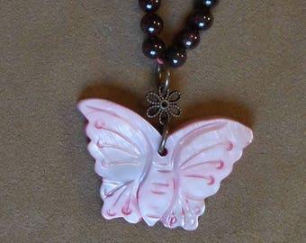 Pink Butterfly Necklace on Garnet choker