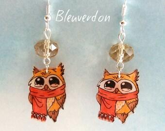 Earrings funny owls glows