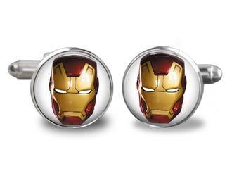 Iron man cufflinks ironman superhero cufflinks Marvel cufflinks comic book mens cufflinks glass cufflinks silver cufflinks