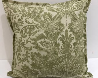 Linen Damask - White and dark green printed floral design front and reverse with matching flange - 18x18in