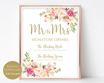 Wedding Signature Drink Cocktail Sign for your Wedding Mr and Mrs Signature Cocktails Sign PDF Instant Download 8x10, 5x7, 4x6 Pastel Blooms