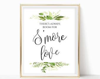 Printable S'more Bar Sign DIY Wedding Smores Label Treat Yourself to Smore Love Smores Bar Station Sign S'more Wedding 8x10,5x7,4x6 Greenery