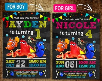 Finding Dory Birthday Invitation. Invitations. Finding Dory Invitation. Finding Dory Birthday Party. Finding Dory Party. DIY