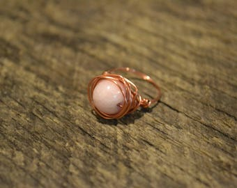 Pink and copper ring