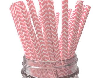 Light Pink Chevron 25pc Paper Straws