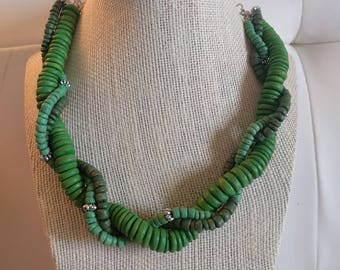 Green Bead Spiral Necklace