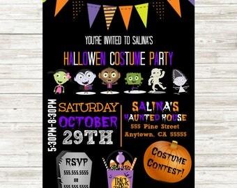 Kids Halloween Party Invitation Digital 5x7