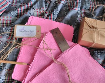 Soft Pink Handmade Recycled Paper Sheets